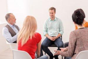 Group of patients at an inpatient drug treatment program